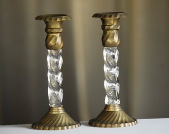 lucite and brass vintage candle sticks