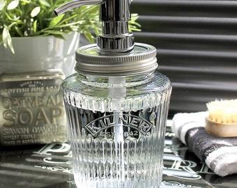 Kilner Vintage Glass Preserve Jar Soap Dispenser with Chrome Pump **UK SELLER**