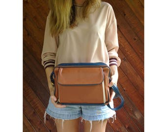 Buttery Brown and Navy Leather Cross Body Bag - Vintage 90s