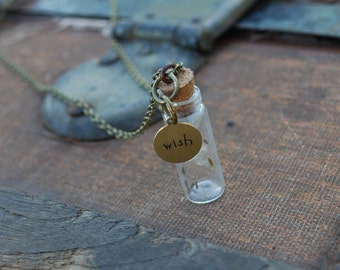 Dandelion Wish Necklace, Antiqued Brass Necklace, Woodland