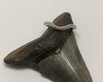 Sterling Silver Art Nouveau Curved Wedding Band
