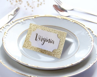 SAMPLE, Gold Place Cards, Glitter Place Cards, Gatsby Style Place Cards, Gold Glitter Place Card, Glamorous Place Card, Elegant Place Card