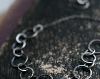 Forged link sterling silver necklace, hand fabricated chain, oxidised for depth and character, long layering necklace.