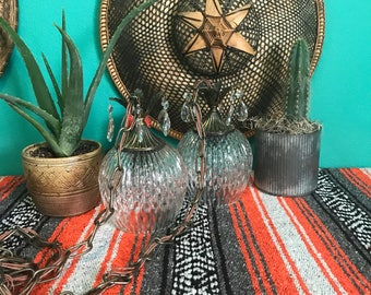 Hollywood Regency Boho Swag Lamp Pineapple Brass and Fancy Cut Glass