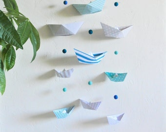 """Wall hanging mobile for baby / child """"boats"""" blue and grey pastels"""