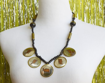 80s Brass & Copper Elephant Reflective Silver Metal Disc Charms Long Black Beaded Necklace