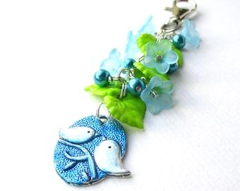 Two little birds bag charm - Pretty flowers beaded bag charm - Bird bag charm - Spring green accessories - Gift for girls - Birdie gift - UK