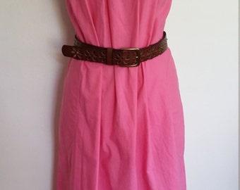 Embroidered dress, S, M, pink dress, summer dress, cotton dress, mirror dress, pink boho dress, pink shift dress, tent dress