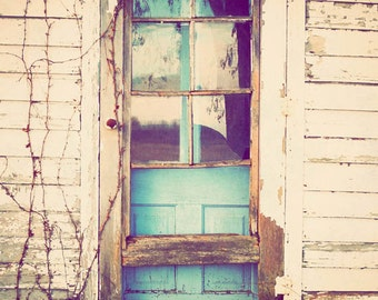 Country photography, fine art, Midwest photograph, vintage, farmhouse, rustic, turquoise, country art - The Blue Door