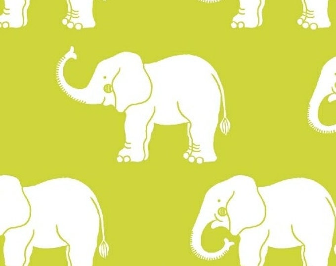 """29"""" REMNANT Trunk Show - Elephants in Green - Cotton Quilt Fabric - Another Point of View for Windham Fabrics (W1740)"""