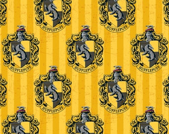 Harry Potter Fabric - Hufflepuff - Digitally Printed Fabric - Sold by the 1/2 Yard