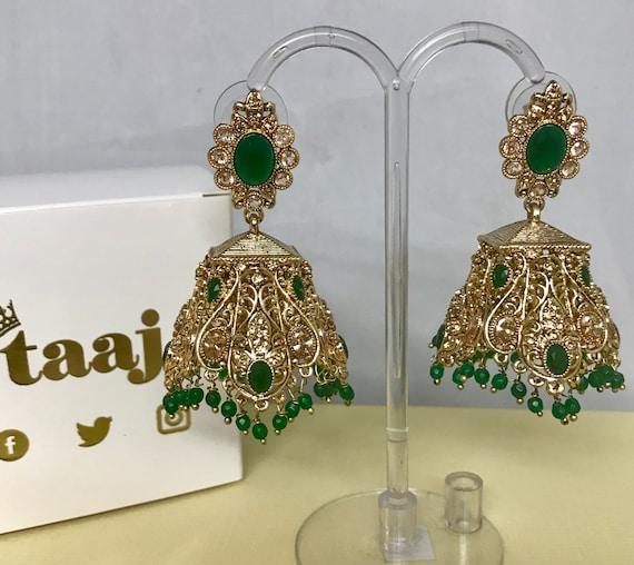Risha Gold and green zirconia jhumka earrings indian bridal Pakistani partywear jewellery
