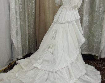 Vintage Ruffled White Satin Wedding Gown, Size 6 - 8