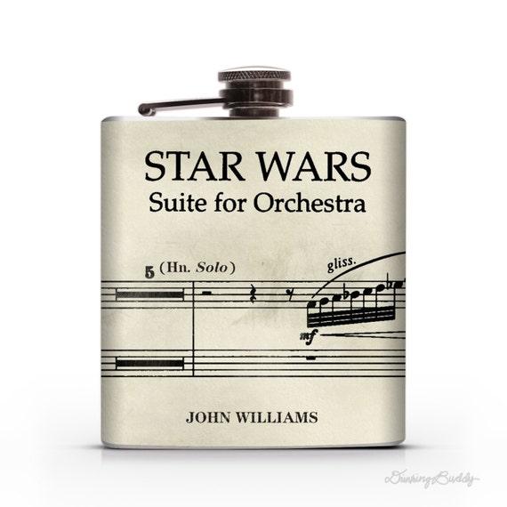 Star Wars Vintage Musical Notes John Williams  - 6oz Hip Flask