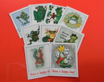 2 Sets of 9 Thank You Cards Funky Frogs Have a Happy Day Cards or Tags. 5336