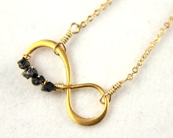 Eternity Necklace - 24K Gold Plated Silver Infinity - 14K Gold Filled Chain - Figure Eight Infinity Symbol