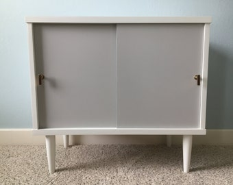 Mid Century Modern Cabinet With Sliding Doors