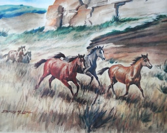 Wild horses. Vintage 50s  watercolor print by Stanley  M.Long.