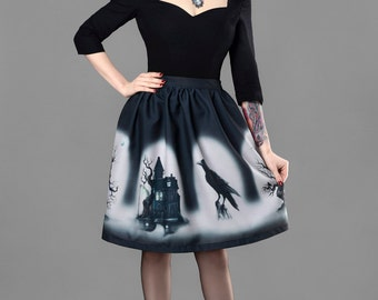 Black gray graphite midi printed raven haloween gothic festival dark skirt