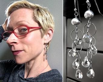 Little Rain Cloud Earrings - Faceted Teardrop Earrings, Mirror Finish, Oxidized Sterling Silver Chain, Modern - Every Cloud a Silver Lining