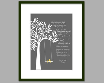 Birthday Gift for Dad from Daughter/You Mean Everything To Me/Birds on Tree Swing/Gift for Daddy from Little Girl/ Dad Birthday-8x10 and up