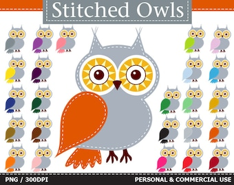 24 Digital Rainbow Colorful Stitched Owls Clip Art ,