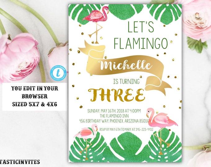 Flamingo Birthday Invitation Template, Instant Download, Editable, Printable, Flamingo, Flamingo Template, Summer Birthday Invitation, DIY