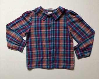 1980's Multi Color Plaid Blouse (5t)