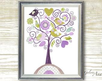 Baby girl Nursery art print - nursery decor - kids art - kids room decor - nursery wall art - Bird - Fantasy Tree print
