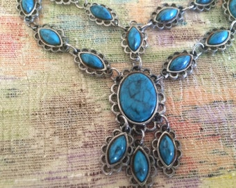 Turquoise necklace,  bib necklace, statement necklace, vintage necklace, bohemian necklace, hippie necklace