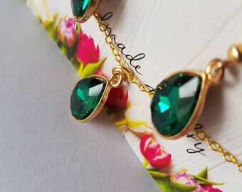 Emerald or black earrings and necklace set (read description for a surprise)