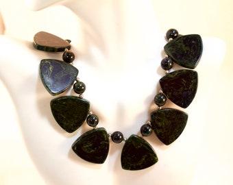 Vintage Marbled Green Bakelite Wafer Choker Necklace
