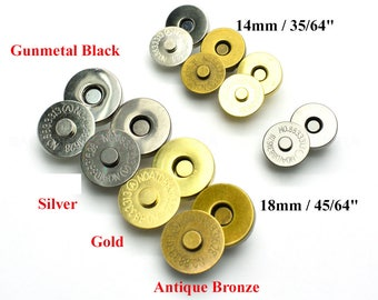 Round Double Rivet Magnetic Snap Closure Fastener Button Purse Clasp Bag Sewing 10 14 17 20mm Silver Gold Bronze Gunmetal Black