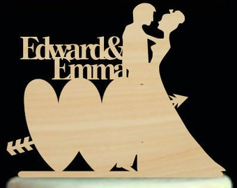 Wedding Cake Topper Silhouette Personalized Couple Name Cake Topper Rustic Wedding Cake Topper Bride and Groom Cake Topper For Wedding Decor