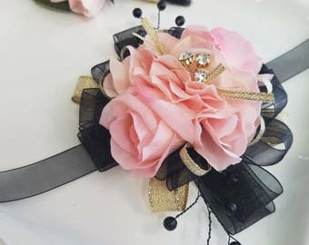 Pink Black Gold Wrist Corsage With Matching Boutonniere Prom Set Artificial Flowers Ready to Ship