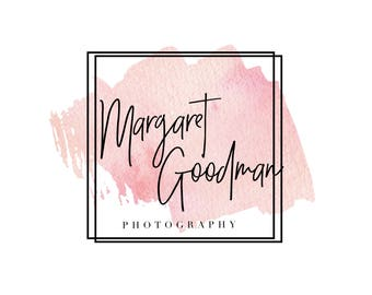 Premade logo, Photography logo, Gold logo, Watercolor logo, Pink watercolor logo, Blog logo kit, Blog branding kit, Business logo, Watermark