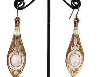 Moroccan Earrings, White Earrings, Shimmering, Brass Earrings, Everyday Jewelry, Hypoallergenic, Nickel Free, Unique, Dangle Earrings, Drops