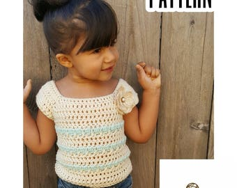 Crochet PATTERN | Sugar and Spice Short Sleeve Sweater Pattern | Girls Short Sleeve Top Pattern | Kids Tunic Pattern | PDF Digital Downlaod