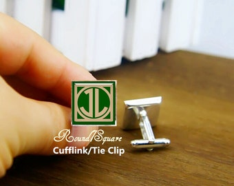 custom monogrammed initial cufflinks, personalized round or square cufflinks & tie clip, art monogram cuff links, 1920s font, emerald green
