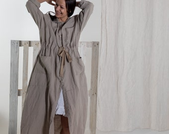 Linen jacket. Full length jacket. Linen coat. Stonewashed linen loose  fit oversized dress moostore # 3