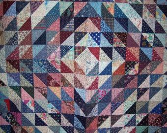 "Scrappy Half Square Triangle Trip Around The World Quilt ""Vintage"""