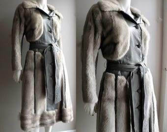 60s 70s Gray Mink and Leather Princess Coat - M L