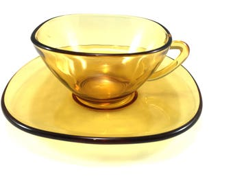 French amber glass coffee cups (set of six)