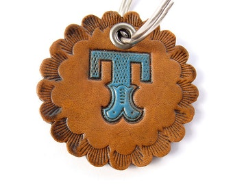 Personalized Keychain Leather Stamped Carnival Letter