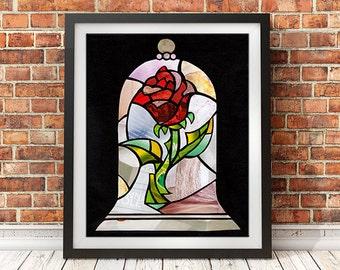 Beauty And The Beast Rose, Enchanted Rose, Cursed Rose, Wall Art Print, Princess Art, Rose home decor, Canvas Art/ Paper Print