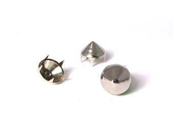 Silver, 12mm multi-pronged garment cone studs - Bag of 100