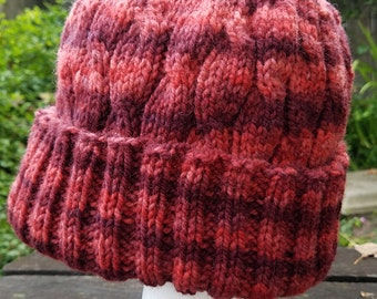 Hand Knit, Red Wool Hat, Tall Hat for Slouchy Look or Deep Folded Brim, Cabled and Ribbed Pattern, Adult Large Size, Great for Winter