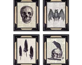 GOTH Collection 4 art prints Skull, Crow Raven Black Feathers, Vampire Bat, Spooky Horror on vintage dictionary book page EphemeraAndMore