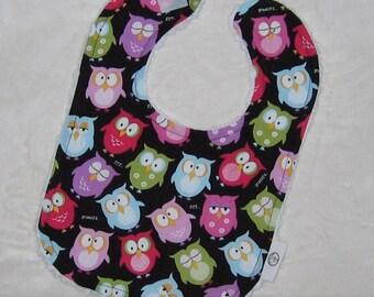 Sleepy Owls Fabric and Chenille Bib