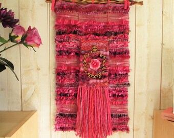 "Wall tapestry weaving, Textile art, shabby chic wall decor, ""Rosalinde"" ,woven wall hanging, wall hanging pink, fuchsia"